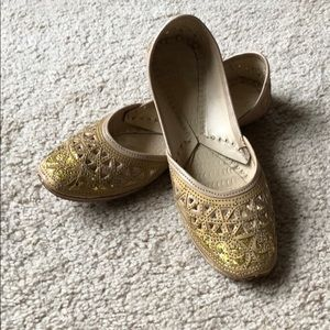 Shoes - Gold Handmade Leather Flats, Size 7.5